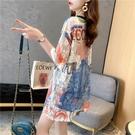 蕾絲上衣 很仙的蕾絲上衣女裝夏季中長款寬鬆鏤空短袖T恤衫韓版百搭ins潮牌 歐歐