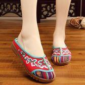 花藤民族風亞麻刺繡繡花拖鞋 包頭外穿女涼拖鞋防滑牛津軟底布拖鞋