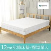 House Door 涼感天絲布套 波浪型12cm厚竹炭記憶床墊(單人3尺)