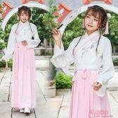 日常漢服女繡花漢元素交領長袖襦裙兩件套表演服套 「爆米花」