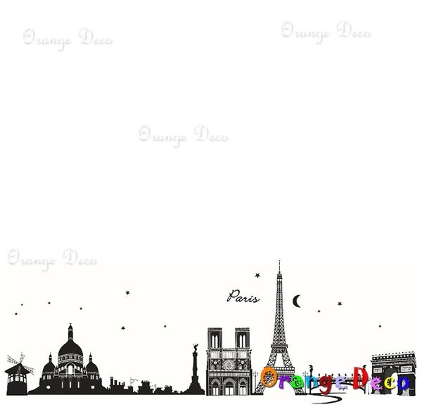 壁貼【橘果設計】巴黎鐵塔 DIY組合壁貼/牆貼/壁紙/客廳臥室浴室幼稚園室內設計裝潢