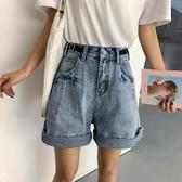 牛仔短褲女潮新品 新款 外穿五分寬鬆韓版bf顯瘦高腰中褲 聖誕裝飾8折