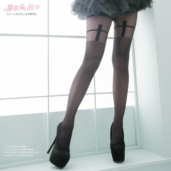 褲襪 黑色絲襪 顯瘦假大腿襪 十字架造型褲襪- 愛衣朵拉