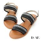 涼鞋 D+AF 波希女神.精緻亮片珠串一字涼鞋*黑