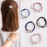 【NiNi Me】韓系髮飾 氣質百搭珍珠串珠多層髮圈髮束 髮束 H9399