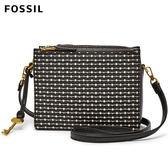 FOSSIL Campbell 黑色條紋多夾層防潑水真皮立體小方包