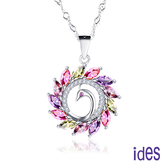 ides愛蒂思 歐美設計彩寶系列多色碧璽項鍊/彩色孔雀