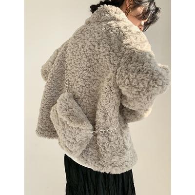 羊羔毛外套女短款秋冬韓版牛角扣加厚仿皮草毛毛絨外套KK042快時尚