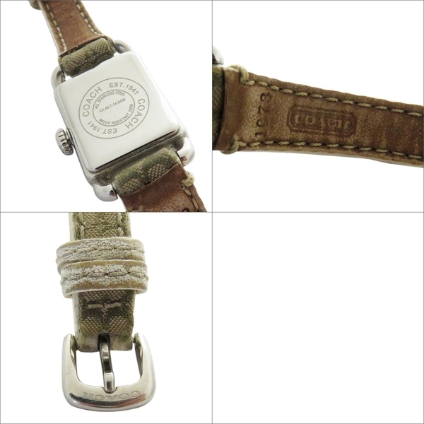 COACH 寇馳 卡其色LOGO方型手錶 EST/1941【二手名牌 BRAND OFF】