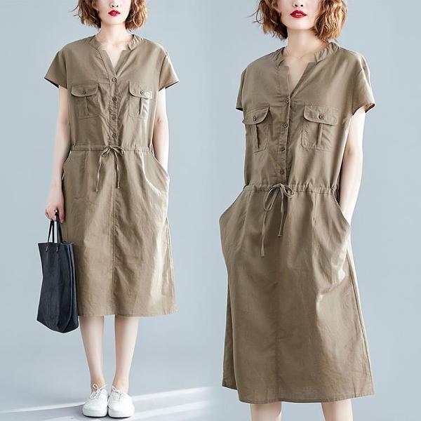 大尺碼洋裝 棉麻連身裙女 2020新款夏季寬鬆大碼V領收腰顯瘦休閒亞麻裙子