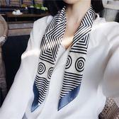 正韓時尚條紋小方巾小絲巾領巾頭帶裝飾用復古圍巾女 優樂居生活館