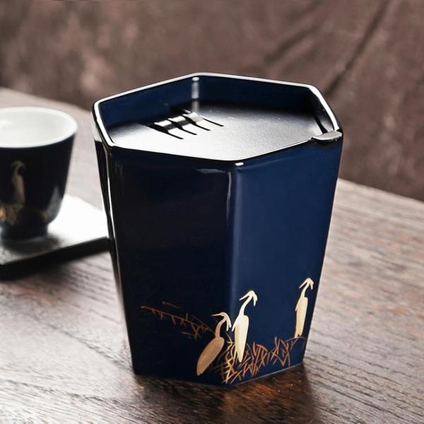霽藍釉陶瓷茶洗 水盂筆洗茶渣缸 功夫茶具配件建水【聚寶屋】