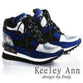 ★2016秋冬★Keeley Ann帥氣拼接星星綁帶全真皮內增高休閒鞋(藍)  -Ann系列