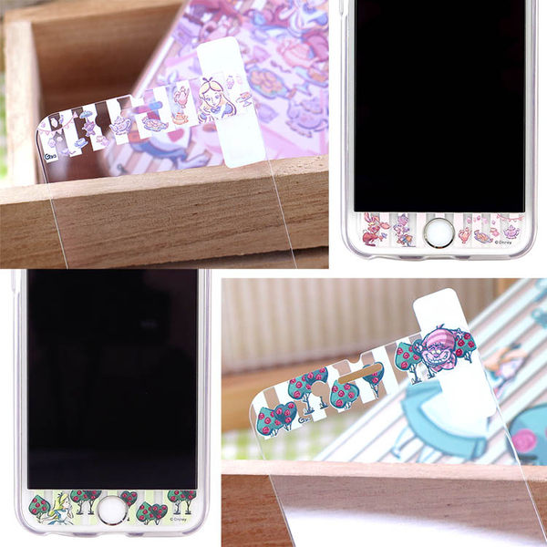 【Disney 】迪士尼iPhone 8 / iPhone 7愛麗絲夢遊仙境玻璃保護貼+彩繪保護軟套_4.7吋