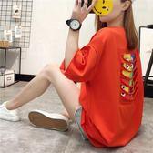 2019新款夏季女裝上衣韓版寬鬆大碼中長款T恤女短袖紅色休閒T恤衫CY 酷男精品館