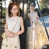 復古法式桔梗兩件式洋裝 超仙女森系小個子初戀無袖連身裙春夏時尚套裝 DR34638【美好時光】