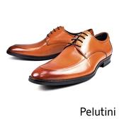 【Pelutini】時尚造型牛皮紳士德比鞋  咖啡(8240-BR)