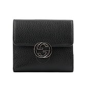 【GUCCI】金屬雙G Logo牛皮暗釦短夾(黑色) 615525 CAO0G 1000