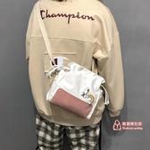 帆布包 2019新款小清新帆布袋中包斜背韓版女學生森系文藝抽繩單肩包 4色