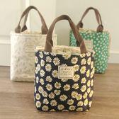 日系 樸素保溫錫箔手提便當包飯盒袋帶飯包午餐包圓桶圓形媽咪包