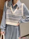 毛衣背心 針織馬甲女小背心外穿韓版復古短款百搭v領毛衣秋冬季2021年新款 愛丫 免運