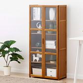 楠竹帶門置物櫃-雙門五層60cm 透明櫥窗書櫃 帶門收納櫃【Y10237】快樂生活網