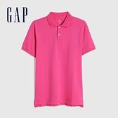 Gap男裝 商務舒適棉質透氣POLO衫 736520-玫紅色