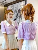 娃娃領上衣 寧莎2020夏季新款百搭甜美法式紫色雪紡襯衫寬鬆顯瘦短袖上衣女潮