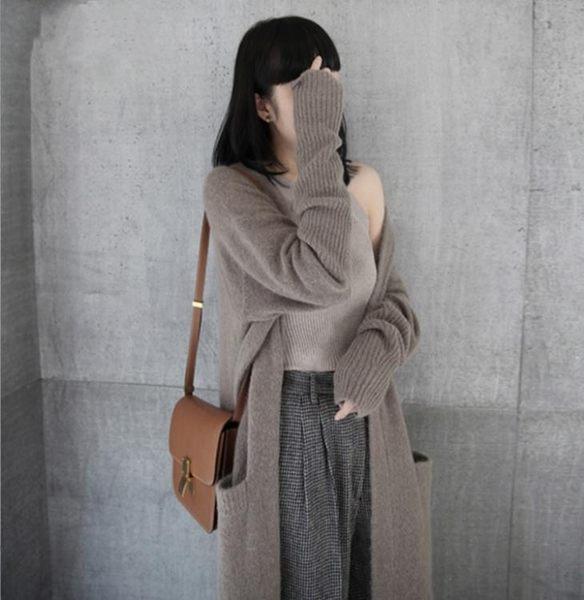 秋冬正韓女裝寬鬆長袖中長款外搭針織開衫女士毛衣外套潮 巴黎時尚