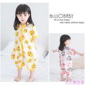 女寶寶睡衣嬰兒1-2-3歲4夏純棉兒童女童夏季連體衣睡袋防踢被夏天