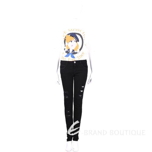 haikure 黑色破損設計合身牛仔褲 1630059-01