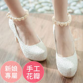 Ann'S Bridal幸福婚鞋細膩玫瑰繫帶厚底跟鞋-白