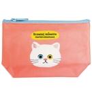 【日本製】【ECOUTE!】貓咪系列 貓臉化妝包 收納包 S尺寸 白貓圖案 SD-3960 - ecoute!