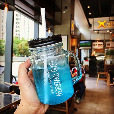 梅森罐正韓手柄漸變英文吸管公雞梅森杯男女學生咖啡廳果汁飲料玻璃杯子