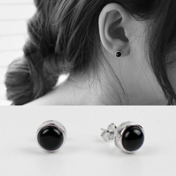 韓版簡約圓形黑瑪瑙耳環 耳飾 裝飾品 純銀首飾 AE989【米莎】