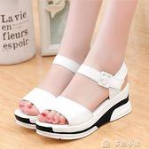 女鞋 夏季新款厚底鬆糕涼鞋休閒中跟坡跟涼鞋女「多色小屋」