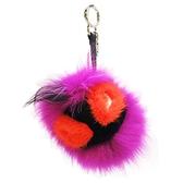 FENDI 紫橘黑三色小怪獸毛球吊飾 Monster Bag Bugs Bag Charm【二手名牌BRAND OFF】