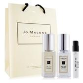 Jo Malone 青檸羅勒葉+鼠尾草(9mlX2)+牡丹與胭紅麂絨針管香水 -贈提袋
