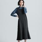 SISJEANS-深灰針織背心魚尾洋裝【1729500432】