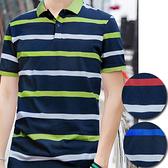 ※現貨 橫條紋撞色修身短袖POLO衫 拼色上衣 男短T 短袖上衣 3色 M-3XL碼【CE57079】
