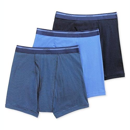Jockey 男全棉合身四角內褲3件組(藍色系列)