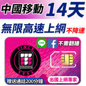 中國移動 14天無限4G高速上網 不降速 FB/LINE直接用 贈送當地通話200分鐘 (香港/澳門也可以使用)