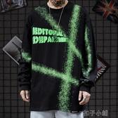 秋季新款長袖t恤男潮暗黑風高街說唱嘻哈潑墨打底衫 扣子小鋪