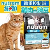 四個工作天出貨除了缺貨》Nutram加拿大紐頓》I12體重控制貓雞肉+豌豆貓糧-2kg(超取限2包)