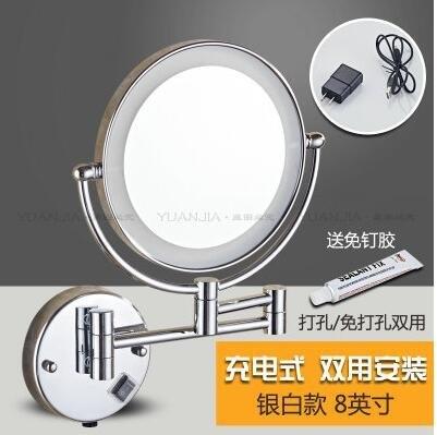 免打孔帶燈美容鏡雙面LED化妝鏡子浴室折疊梳妝放大鏡壁掛式伸縮   JN