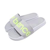 New Balance 拖鞋 SWF 200 B 灰 綠 大Logo NB 女鞋 涼拖鞋 【PUMP306】 SWF200L1B