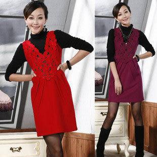春裝新款女裝 時尚修身氣質高雅羊毛呢淑女背心連衣裙