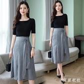 2020年新款韓版流行春秋季長款高端a字很仙的洋裝子女氣質顯瘦XL3526【東京衣社】