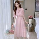 VK精品服飾 韓國風森系碎花收腰繫帶復古超仙雪紡裙短袖洋裝