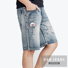 復古英文滾邊造型牛仔短褲...